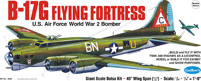 Guillows B-17G Flying Fortress Balsa Wood Model Airplane Kit