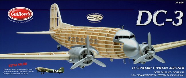 Guillows Douglas DC-3 / C47 Balsa Wood Model Airplane Kit