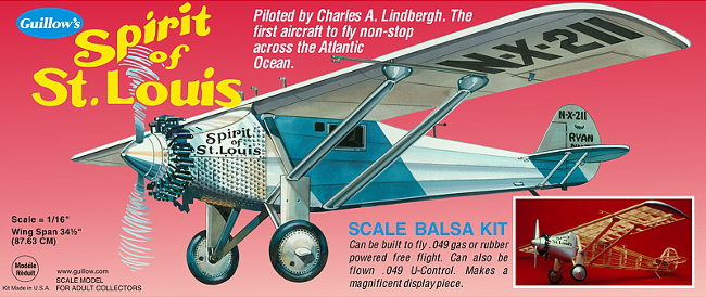 Guillows Ryan NYP Spitit of St Louis Balsa Wood Airplane Kit